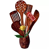 #3: Kitchen Delli handmade handicrafted wooden serving and cooking spoons kitchen utensils Set of 5 -brown