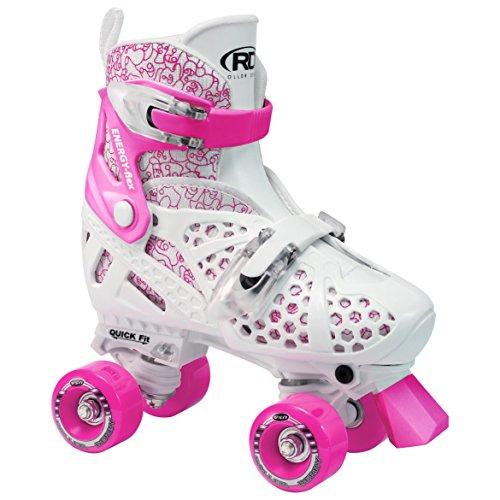 Roller Derby Kinder Skates Trac Start Girls Verstellbarer, Weiß/Rosa, 34-36, 1971 - L -