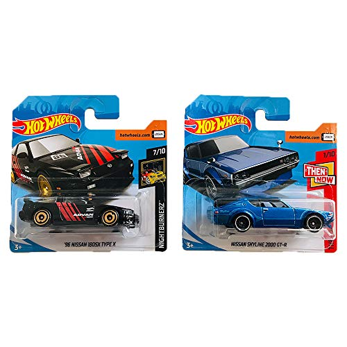 Hot Wheels '96 Nissan 180SX Type X & Nissan Skyline 2000 GTR Nightburnerz & Then and Now Pack 2