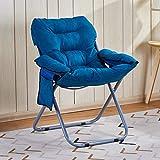 YaNanHome Klappstuhl einfache faul Stuhl Student Sofa Stuhl Home-Office mit Rückenlehne liegend kann Falten (Color : Blue)