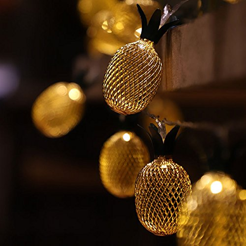 Ananas LED Lichterkette Deko Lampe - 5 Meter | Mit Netzstecker NICHT batterie-betrieben | 20 LEDs warm-weiß - kein lästiges austauschen der Batterien | von CozyHome Gold-frucht