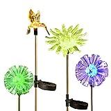 Solar Gartenleuchten, OrgMemory LED Solarleuchten, 4er Set Wasserdicht Farbwechsel Gartenbeleuchtung, Löwenzahn Kolibri und Sonnenblume für Außen Dekoration