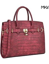Mky Women Large Handbag Designer Purse Leather Satchel W/Removable Shoulder Strap Burgundy