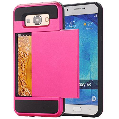 Galaxy A7 Coque,EVERGREENBUYING [Slider Series] Ultra Slim léger 2 en 1 SM-A7000 Cases [Porte coulissante semi-automatique][Housse de Protection] [Fente pour Carte] Cover Pour Samsung GALAXY A7 (2015) Rose