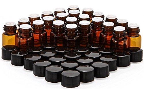 Teenitor 24 Stück Ätherische Öle Flasche - 2 ml Bernstein Glasflasche mit Öffnung Reduzierer & Schwarz Kappe für Parfüm Aromatherapie Duftöl Leer Nachfüllbare Befüllen Flaschen (Flaschen Für öle Amber ätherische)