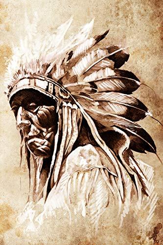 Bilderdepot24 Fototapete selbstklebend Indianer mit Federschmuck - 65x100 cm - Wandposter Tapete Motivtapete - Indianerhäuptling Zeichnung