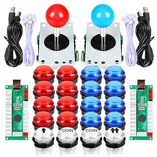 EG STARTS 2 jugadores Arcade DIY Kits partes 2 pegatinas + 20 botones LED iluminados para Arcade Joystick PC juegos Mame Raspberry pi (rojo y azul)