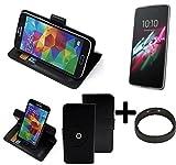 TOP SET: 360° Funda Smartphone para Alcatel One Touch Idol 3 4,7 Zoll, negro + anillo protector   Función de stand Caso Monedero BookStyle mejor precio, mejor funcionamiento - K-S-Trade