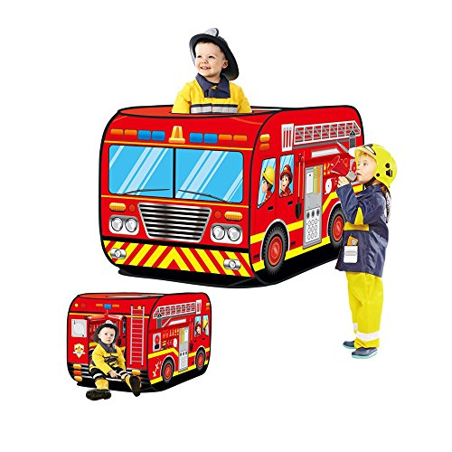 Haehne Kinder Spielzelte, Spielen Zelt Pop up Drinnen Draussen Spiel Haus Spielzeug Hütte Einfach Falten, Niedlich Feuerwehr Auto Entwurf (Haus-entwurf)