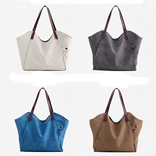 Imagen de bolso bandolera bolsa de hombro de lona grande marrón para mujer y shoppers por esailq i alternativa