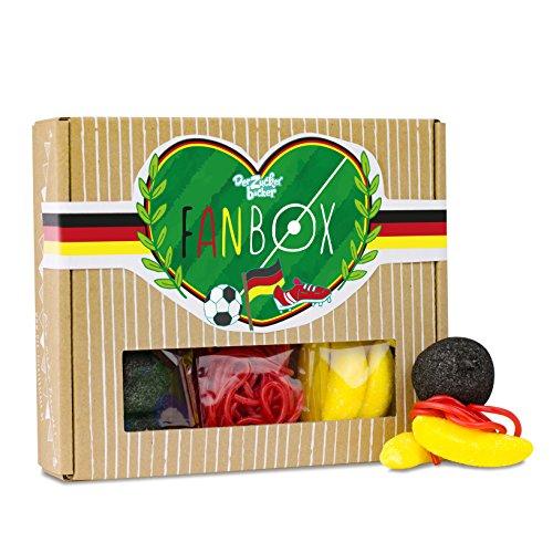 Fan Box, befüllt mit Schaumzucker, Erdbeer-Schnüren und fruchtigen Bananas, Süßigkeiten in Deutschlandfarben, 120 Gramm in einer Box, Geschenkidee für echte Fußball-Fans