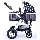 LZTET Portable High Landschaft Kinderwagen Baby Bidirektionale Trolley Schlafen Dual-Use Kinderwagen Faltbare Große Space Baby Trolley,Black