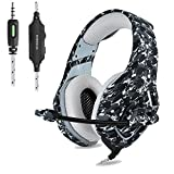 PS4 Gaming Headset ONIKUMA 3.5mm Stereo Camouflage Gaming Headphones with Noise Canceling Mic For xbox one S PC PS4 Smartphones Laptop Computer (Grey)