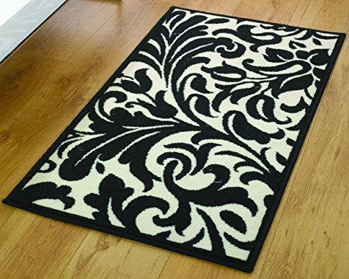 Moderno damascato foglie design Tappeto/Zerbino, Avorio, 180x 250cm colore nero