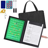 AGPTEK Professional Faltbares Fußball Taktiktafel Coach-Mappe mit 2 Stifte, Radiergummi, 24er Magneten und Signalpfeife