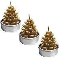 Gosear 3 Piezas Tealight Velas - Cono Estilo Artesanal Delicada decoración Velas tealight sin Humo para Feliz Navidad Fiesta de Navidad Home Decor