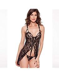 Las señoras Premium transparente pijama volante vestido Mini ropa interior de encaje , black , m