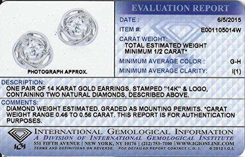 Diamond Studs Forever - Solitaire-Ohrstecker - 0,5 ct. Diamanten GH/I1 - Weißgold 14 K - 6