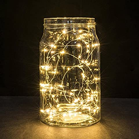 TWIFER 1M String Fairy Light 10 LED Battery Operated Xmas Lights Party Wedding Lamp (warm white)