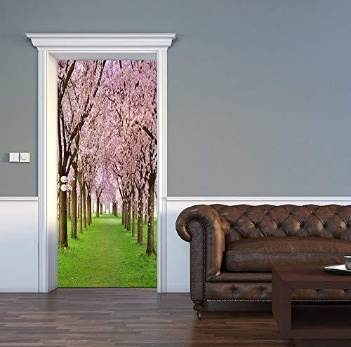 huafan Cherry Blossoms Door Sticker DIY Mural Selfadhesive Wallpaper Removable Waterproof Poster Stickers Home Decor Decals 3D
