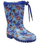 """Tema: """"Pronto per l'azione """"Magnifica coppia di avvio di pioggia per il ragazzo di colore blu e la licenza di pattuglia della zampa."""