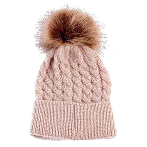 Baby Strickmützen,Amlaiworld Neugeborenen niedliche Winter Kinder Baby gestrickt Wolle säumen Hut Hüte (Beige)