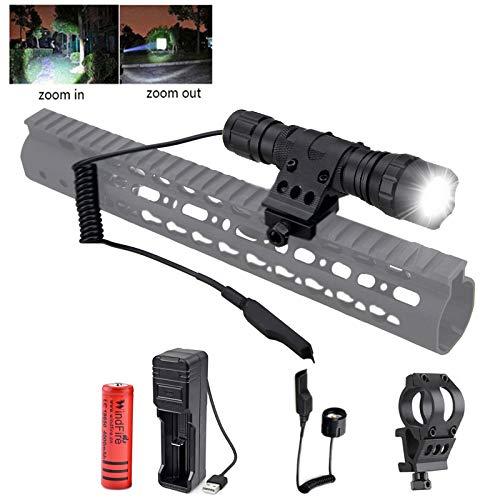 Lampe de Poche Tactique Windfire LED Lampe Torche 1200 Lumens USB Lampe Rechargeable Lampe Torche avec Support de Rail Picatinny et Piles pour La Chasse en Plein air, Le Camping