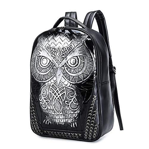 (Blwz PU Rucksack Multifunktions Laptop Wasserdichte Sport Reisetasche 3D Stereo Student Shopping Trip Wandern Große Fach Tasche Für Mädchen/Frauen,Silver)