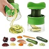 EpochAir Cortador de Verduras Frutas en Espiral, Pelador y Rallador de Verduras, Utensilios de Cocina en forma de Espirales para Platos Sanos y Creativos, Herramienta de la Cocina Profesional Color Verde