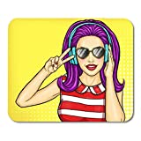Mouse Pads Popart Music Sexy Pop Girl Holding Hands to His Mouth and Whispers About Discounts and Sales Woman Comic Mouse Pad for Notebooks,Desktop Computers Office Supplies