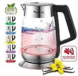 2200W Glas Wasserkocher mit Temperaturwahl 60°C, 70°C, 80°C, 90°C, 100°C einstellbar, 1,8 Liter, Warmhaltefunktion, BPA-FREE
