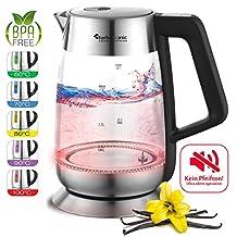 2200W Glas Wasserkocher mit Temperaturwahl 60°C, 70°C, 80°C, 90°C, 100°C einstellbar, 1,8 Liter, Warmhaltefunktion, BPA-FREE, ohne Signalton