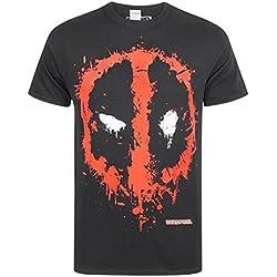 Marvel hombre Deadpool Splat Face Camiseta, Negro, X-Large,Black
