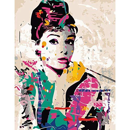 FuCaiLai DIY Ölgemälde nach Zahlen Kit mit ungerahmtem Acryl-Leinwand, für Erwachsene Anfänger (Audrey Hepburn) Frameless Audrey Hepburn