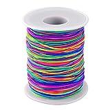 NzamBles Elastische Schnur Beading Cord Faden Stretch Fabric Crafting String für Kinder Schmuck Basteln Perlen Armband, 1mm(Regenbogen-Farbe, 100 m)