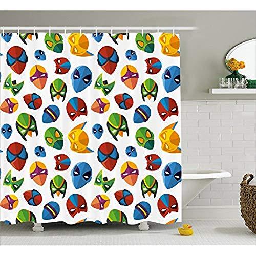 Superhelden Duschvorhang, legendären Zeichentrickfigur Masken Flash Batman Spider-Man Comic Kostüm Drucken, Stoff Badezimmer eingerichtet mit Haken, Multicolor 72