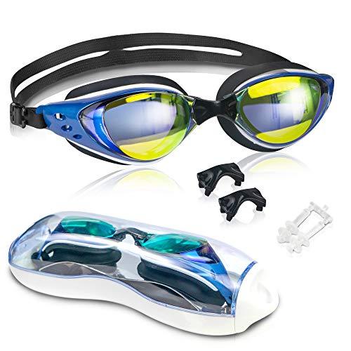 arteesol Schwimmbrille, Schwimm Brillen Keine undichten Gehäuse Antibeschlag UV-Schutz Triathlon Schwimmbrillen für Erwachsene Männer Frauen (Blau)