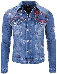 Redbridge Jeans Jacke Herren Blau Denim Biker Style Logo Jeansjacke