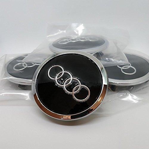 Set di 4 coprimozzo con logo Audi, per cerchi in lega, neri, 69mm 8T0601170A, per Audi, 8T0601170A