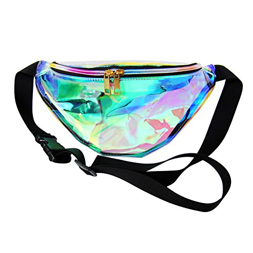 Zicac Gürteltasche Damen, Tasche Festival Holo Bauchtasche Durchsichtige mit wasserdichte Transparent Fanny Pack für Sports und Reise, Waist Bag, Money Belt