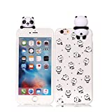 iPhone 6S Plus Xmas Hülle, HUDDU Weiß Handyhülle Transparente Weihnachten Schutzhülle TPU Silikon Back Cover Dünn Protective Case 3D Karikatur Christmas Apple iPhone 6 Plus/6S Plus - Panda