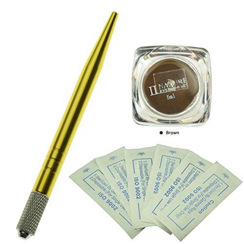 Kit professionnel de microblading de sourcil professionnel / Un stylo de tatouage de Microblading de sourcil manuel jaune avec des aiguilles de Microblading de sourcil de 10Pcs et une bouteille de colorant de Microblading d'essence de plante de nature (Marron)