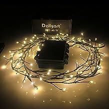 Dailyart 120 Led verde scuro Stringa Luci, Bianco Caldo Luci Di Filo Di Rame Decorazione Luci impermeabile IP44---alimentato a batteria(8 Modes)[Classe energetica A +++] - Albero Di Natale Della Luce Di Notte