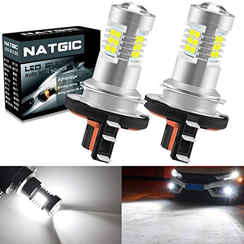 NATGIC H15 Ampoules LED anti-brouillard avec jeu de puces 2835 SMD blanc xénon avec projecteur à lentille pour feux de jour, 10-16V 10.5W (paquet de 2)