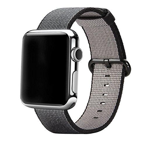 Watch Band, APICI Correa de reloj Correa de nylon Reemplazo con pulsera de acero inoxidable para Apple iWath Series 1 Series 2 & Sport & Edition (42mm, Negro)
