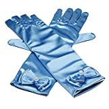 La robe de satin stretch bowknot les gants longs doigts, 29cm, Bleu