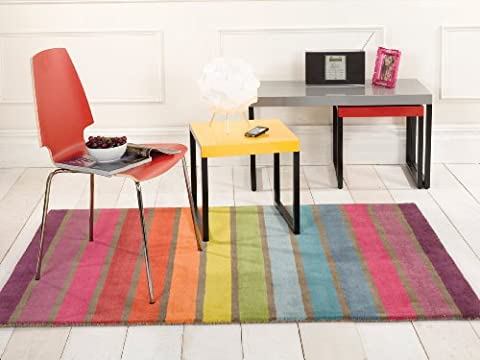 Illusion Candy Thick Modern Hand Tufted Wool Stripes Design Rainbow Coloured Rug in 4 Sizes (120 x 170 cm (4' x