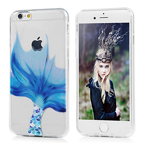 Coque iPhone 6 / iPhone 6S MAXFE.CO Transparent Housse en Silicone Gel TPU Antichoc Résistant Etui Protection Ultra Mince Fine Slim Souple Animé Dessin Original Moti Case Cover Flip Téléphone Portable Queue de Poisson