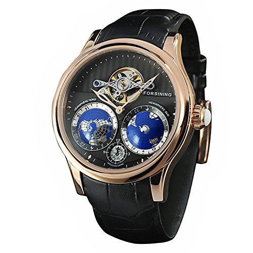2adaf8c5a65a3 Forsining Men s Luxury Automatic Watch with World Map Tourbillon Movement  Stainless Steel