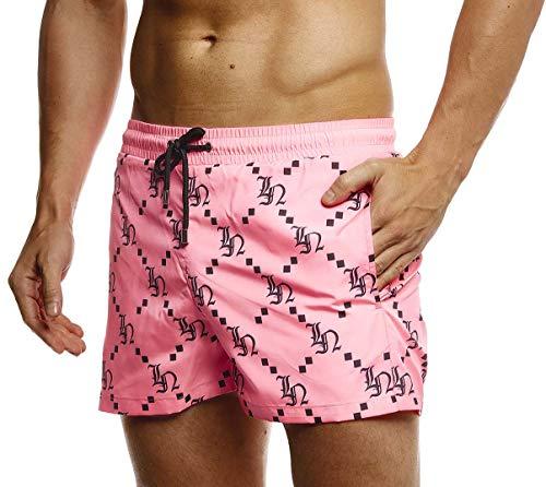LEIF NELSON Herren Sommer Badeshorts mit Taschen | Männer Badehose Schwimmshorts | Herren Schwimmhose-Beachshorts | Jungen Strand Shorts Kurze Hosen Cargo Bermuda Chino | LN92535 Pink X-Large